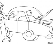 Coloriage Mécanicien auto