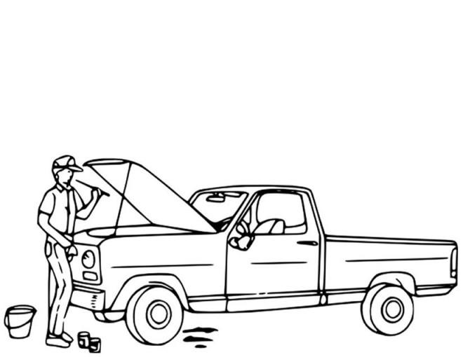 Coloriage m canicien devant une voiture en panne for Reprise voiture en panne garage