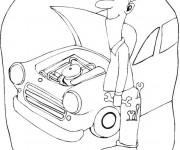 Coloriage et dessins gratuit Mécanicien et la réparation de voiture à imprimer