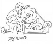 Coloriage et dessins gratuit Mécanicien et moteur d'une voiture à imprimer