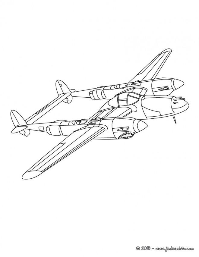 Coloriage et dessins gratuits Avion de guerre à double engin à imprimer