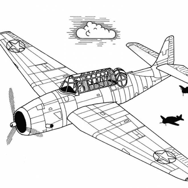 Coloriage et dessins gratuits Avion militaire ancien en vol à imprimer