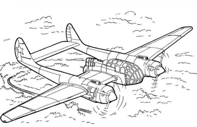 Coloriage Avion Militaire Ancienne Dessin Gratuit A Imprimer