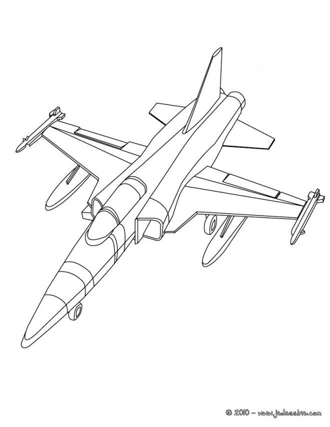 Coloriage avion militaire en ligne dessin gratuit imprimer - Dessin de militaire ...