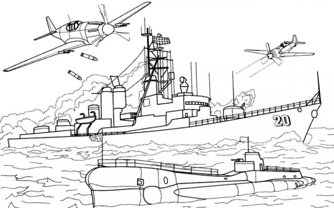 Coloriage Bateau Militaire dessin gratuit à imprimer