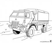 Coloriage et dessins gratuit camion de transport militaire à imprimer