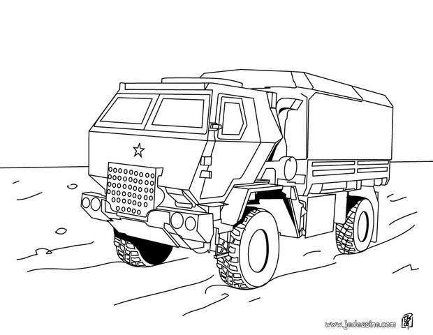 coloriage camion de transport militaire dessin gratuit  u00e0
