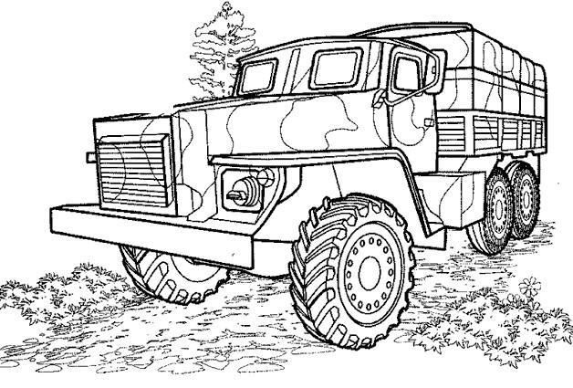 Coloriage et dessins gratuits Camion militaire à imprimer