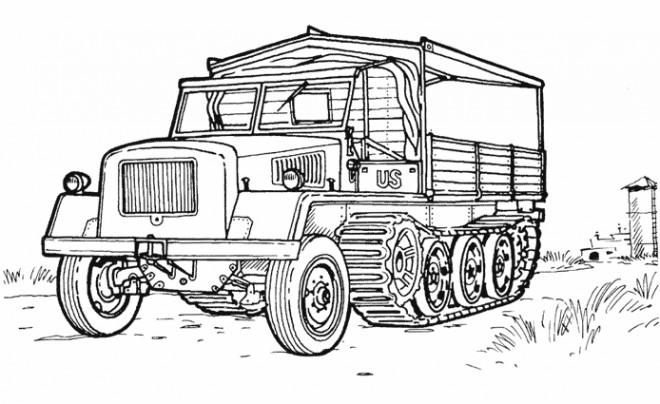 Coloriage camion militaire am ricain dessin gratuit imprimer - Camion americain dessin ...
