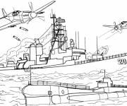 Coloriage et dessins gratuit Guerre navale à imprimer