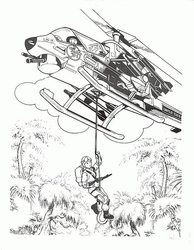 Coloriage et dessins gratuits Hélicoptère militaire en guerre à imprimer