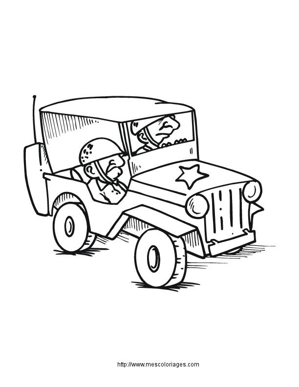 Coloriage et dessins gratuits Jeep de guerre à imprimer