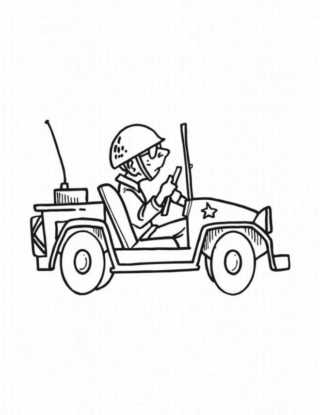 Coloriage et dessins gratuits Soldat et Jeep militaire à imprimer