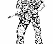 Coloriage et dessins gratuit Soldat militaire prêt au combat à imprimer
