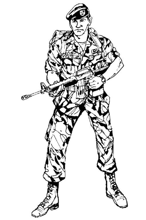 Coloriage et dessins gratuits Soldat militaire prêt au combat à imprimer