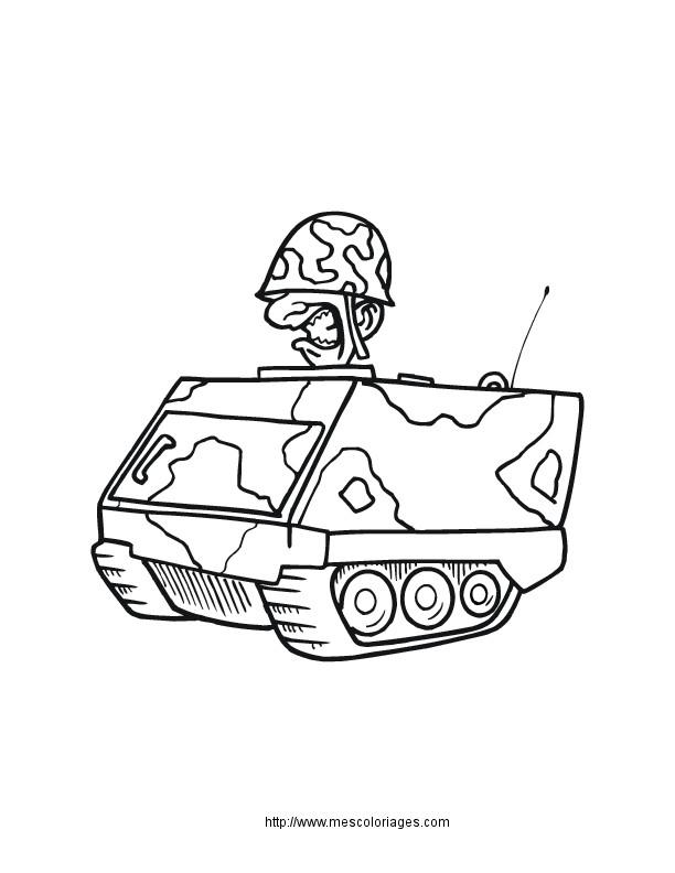 Coloriage et dessins gratuits Soldat sur petite Tank à imprimer