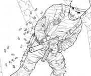 Coloriage Un soldat du film GI -Joe tire sur l'ennemi