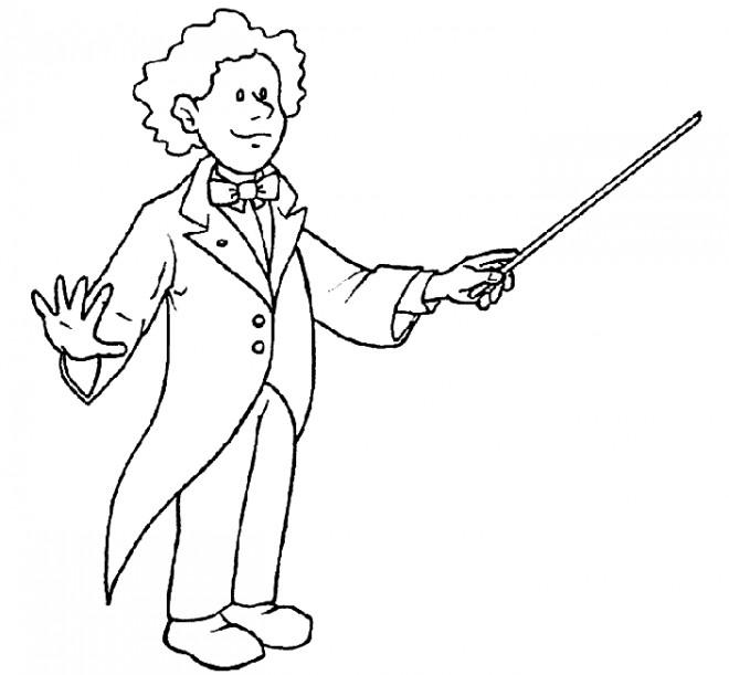 Coloriage chef d 39 orchestre dessin gratuit imprimer - Dessiner un violon ...