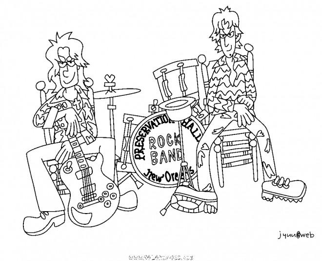 Coloriage deux musiciens et batterie dessin gratuit imprimer - Dessin musicien ...