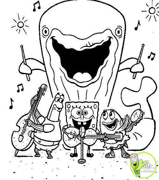 Coloriage et dessins gratuits Groupe musicale de Sponge Bob à imprimer