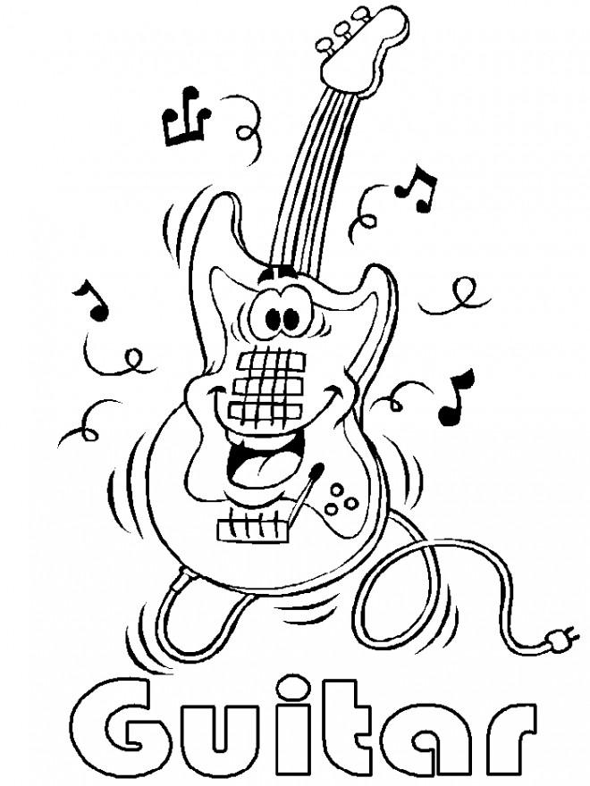 Coloriage Guitare électrique dessin gratuit à imprimer