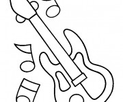 Coloriage et dessins gratuit guitare électrique et notes à imprimer