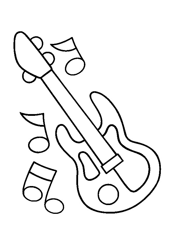 Coloriage Guitare électrique Et Notes Dessin Gratuit à Imprimer