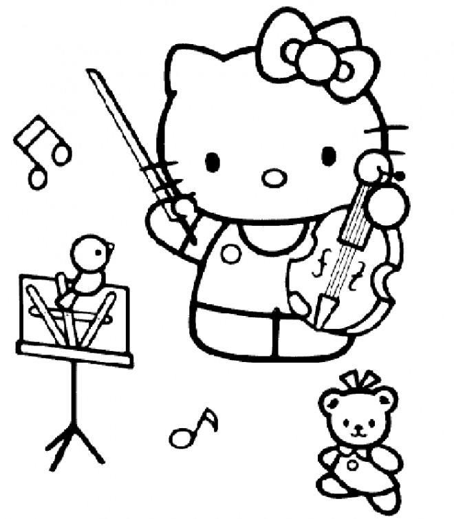 Coloriage et dessins gratuits Hello Kitty avec un violon à imprimer