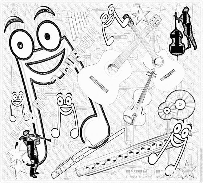 Coloriage et dessins gratuits Instrument musicales à imprimer