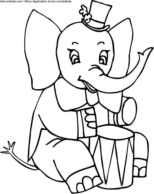 Coloriage et dessins gratuits L'éléphant musicien et le tambour à imprimer