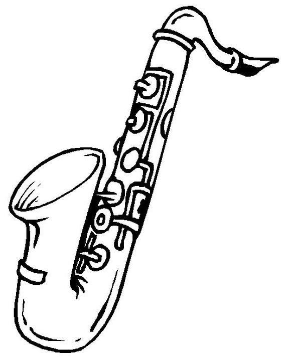 Coloriage et dessins gratuits L'instrument musicale saxophone à imprimer