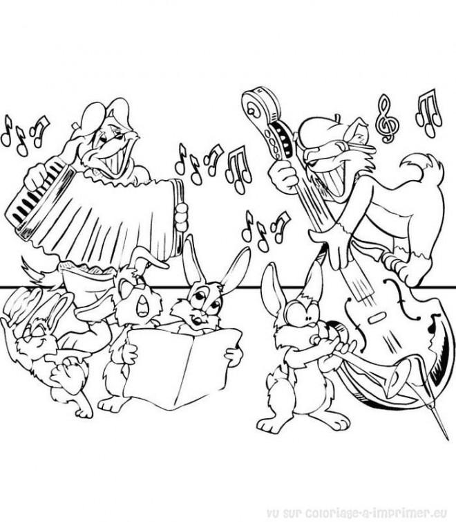 Coloriage et dessins gratuits Lapins musiciens à imprimer