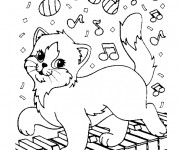Coloriage Le chat et le piano