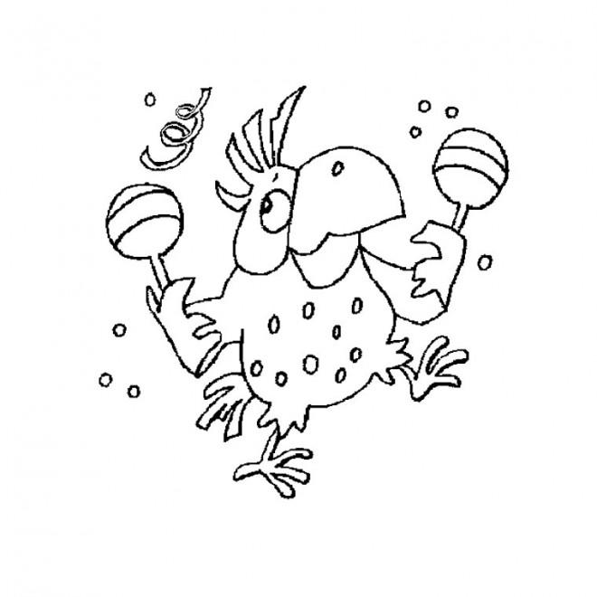 Coloriage et dessins gratuits Le perroquet musicien à imprimer