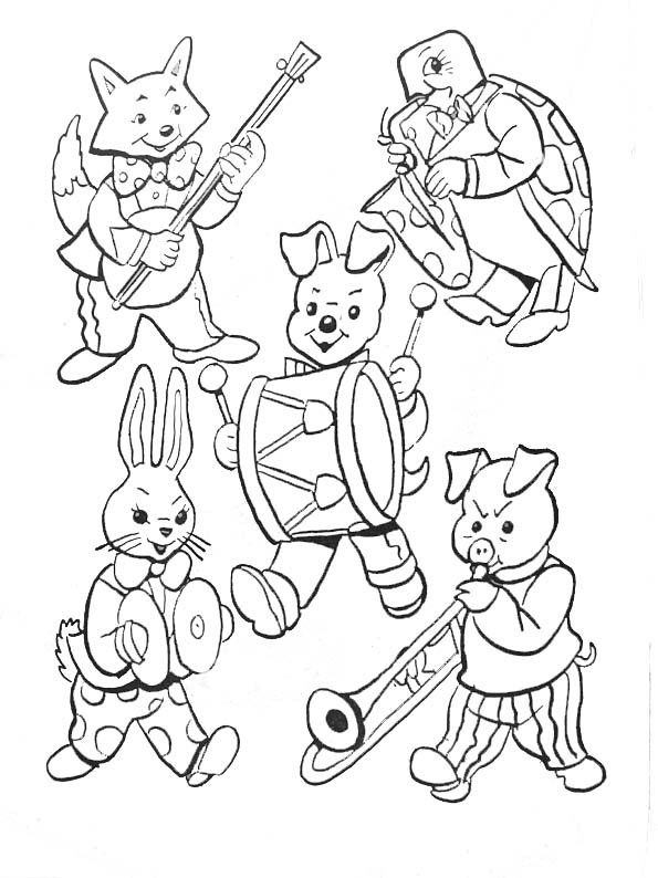 Coloriage les animaux jouent la musique dessin gratuit imprimer - Image instrument de musique a colorier ...
