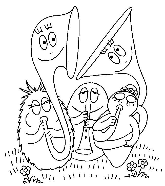 Coloriage et dessins gratuits Les Barbapapa jouent de la musique à imprimer