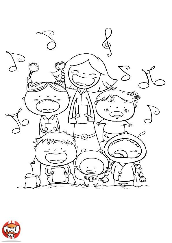 Coloriage les enfants chantent dessin gratuit imprimer - Chorale dessin ...
