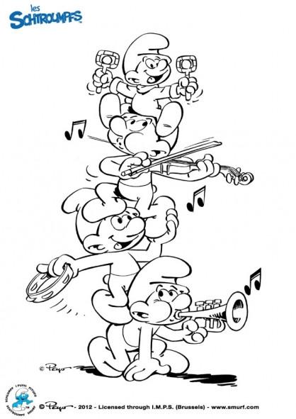 Coloriage et dessins gratuits Les Schtroumpf et la musique à imprimer