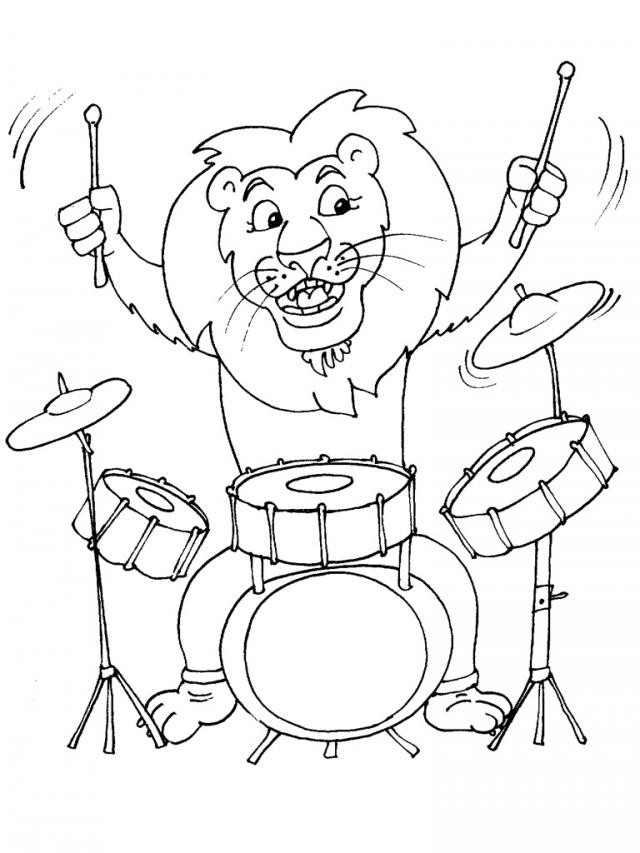 Coloriage lion joue du batterie dessin gratuit imprimer - Image instrument de musique a colorier ...