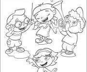 Coloriage et dessins gratuit Quatres enfants jouent la musique et chantent à imprimer