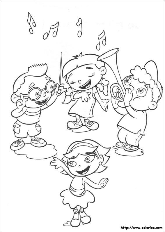 Coloriage et dessins gratuits Quatres enfants jouent la musique et chantent à imprimer