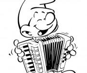 Coloriage Schtroumpf musicien gratuit
