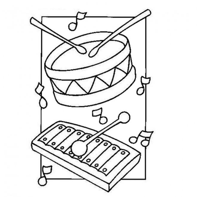 Coloriage et dessins gratuits Tambour et xylophone à imprimer