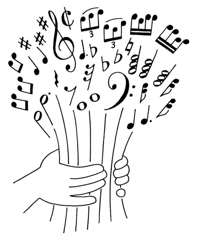 Coloriage un bouquet de musique dessin gratuit imprimer - Site pour couper une musique ...