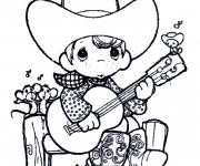 Coloriage Un enfant guitariste