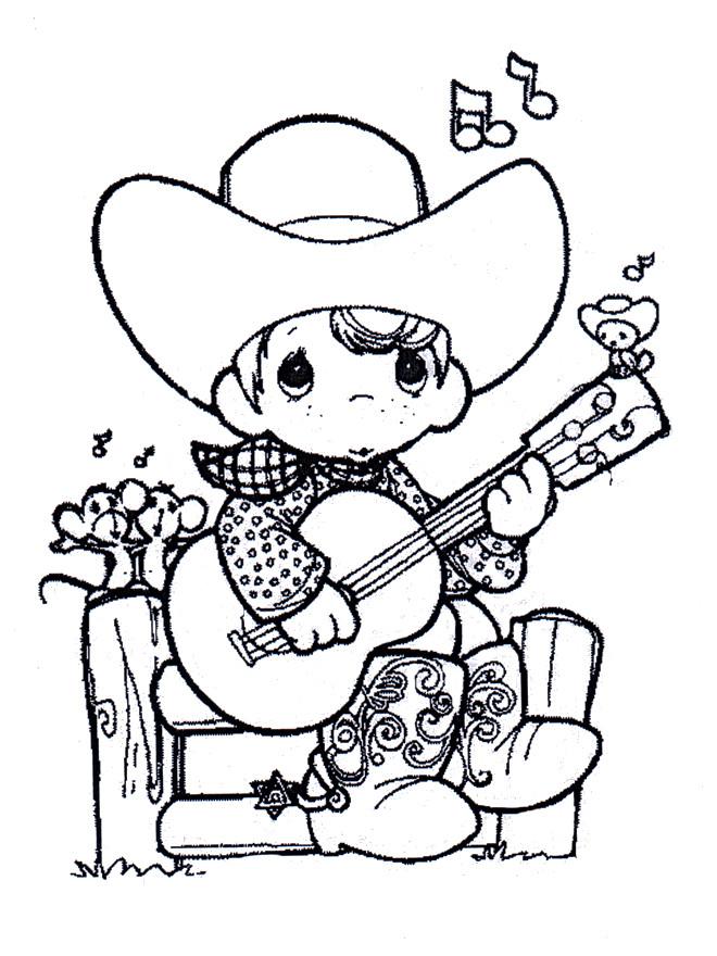 Coloriage et dessins gratuits Un enfant guitariste à imprimer
