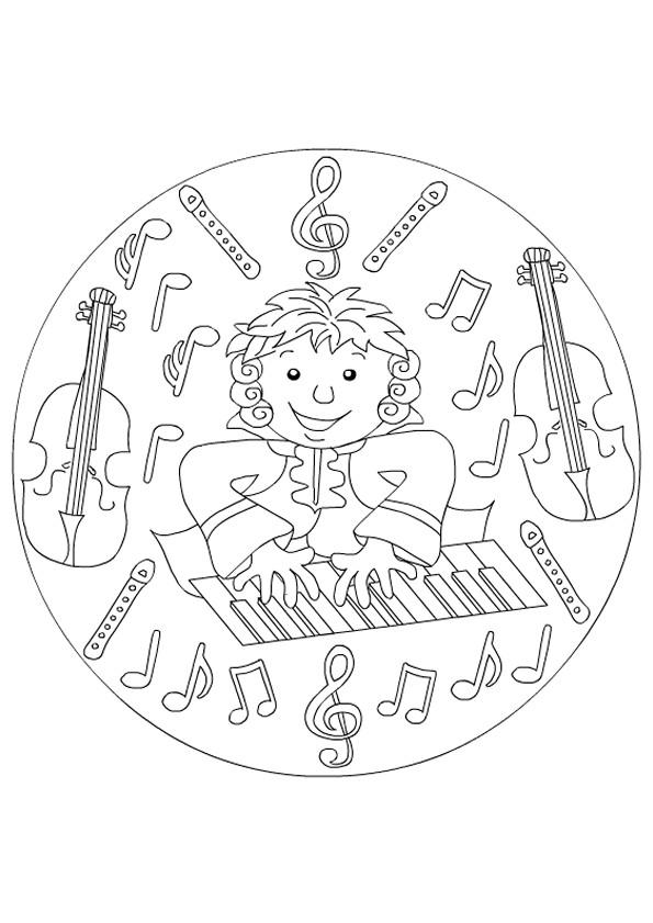Coloriage et dessins gratuits Un garçon joue du piano à imprimer