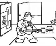 Coloriage et dessins gratuit Un gros lapin joue du guitare à imprimer