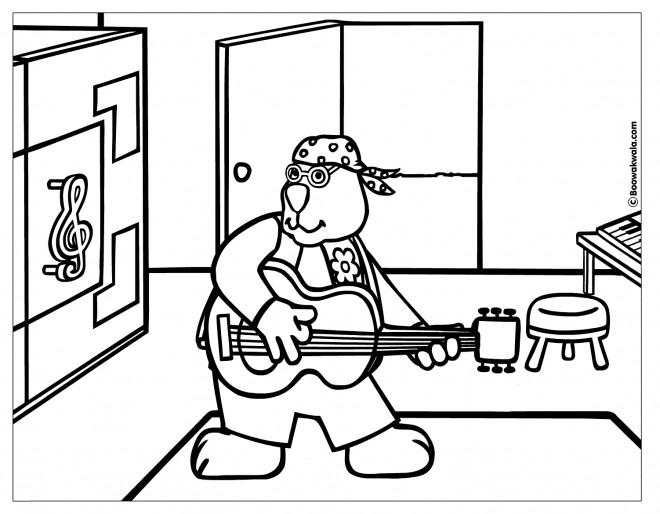 Coloriage et dessins gratuits Un gros lapin joue du guitare à imprimer