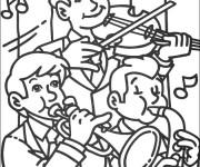 Coloriage et dessins gratuit Un groupe de garçons musiciens à imprimer